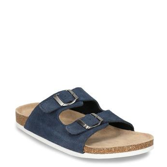Men's leather slippers de-fonseca, blue , 873-9610 - 13