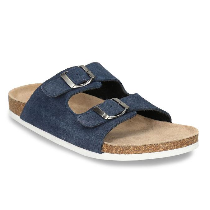 Men's leather slippers de-fonseca, blue , 873-9610 - 13