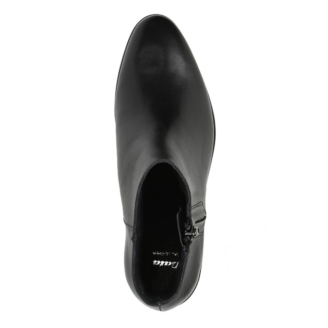 Black leather ankle boots with zip bata, black , 594-6518 - 19