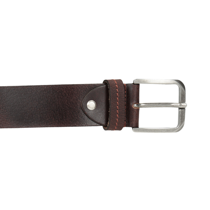 Brown leather belt, brown , 954-3106 - 26