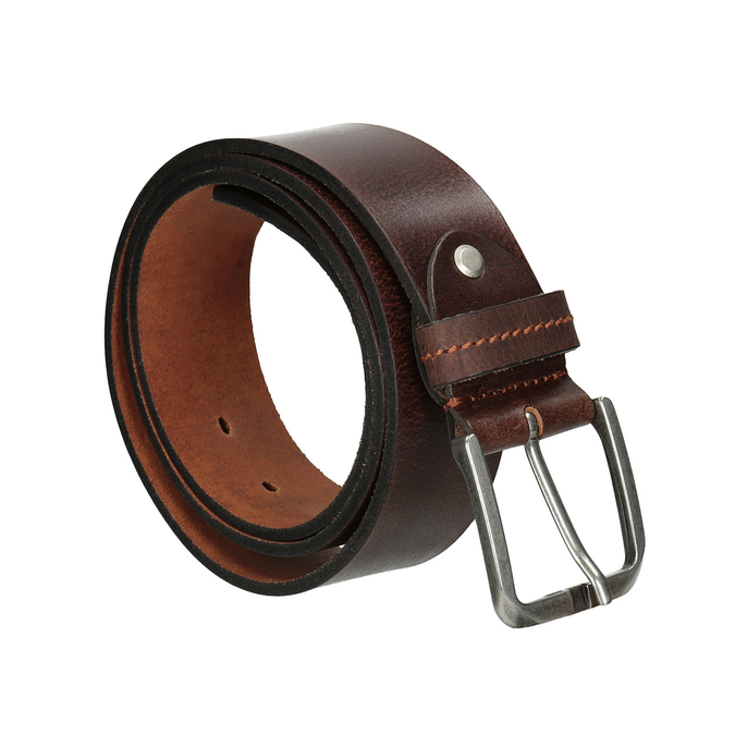Brown leather belt, brown , 954-3106 - 13