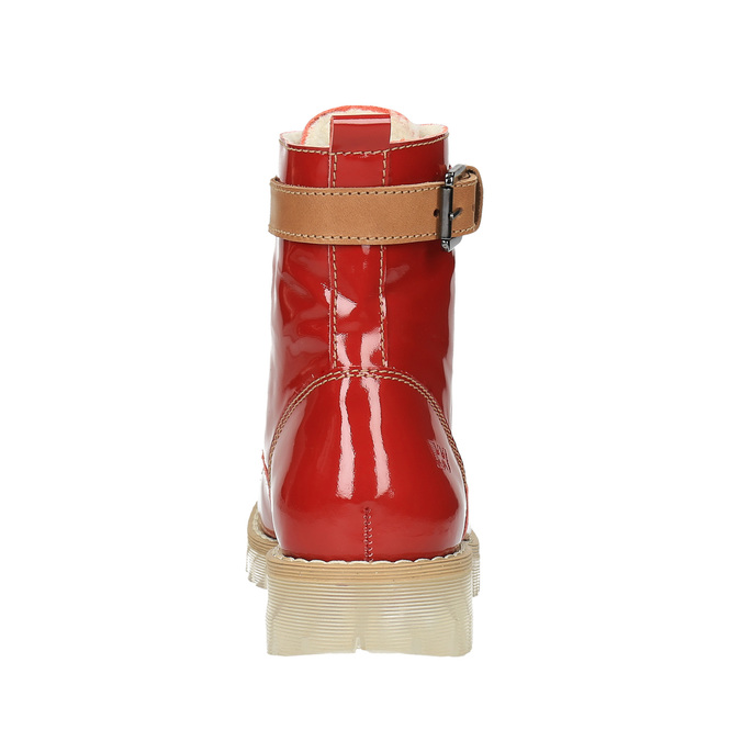 Leather ankle boots with a transparent sole weinbrenner, red , 598-5602 - 17