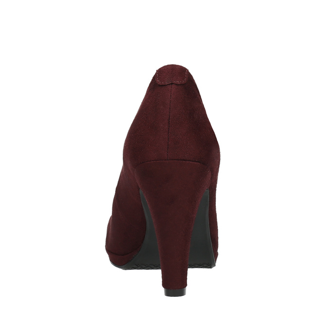 Burgundy pumps with a strap across the instep bata, red , 729-5601 - 17