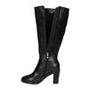 Leather high boots for broader calves bata, black , 694-6635 - 19