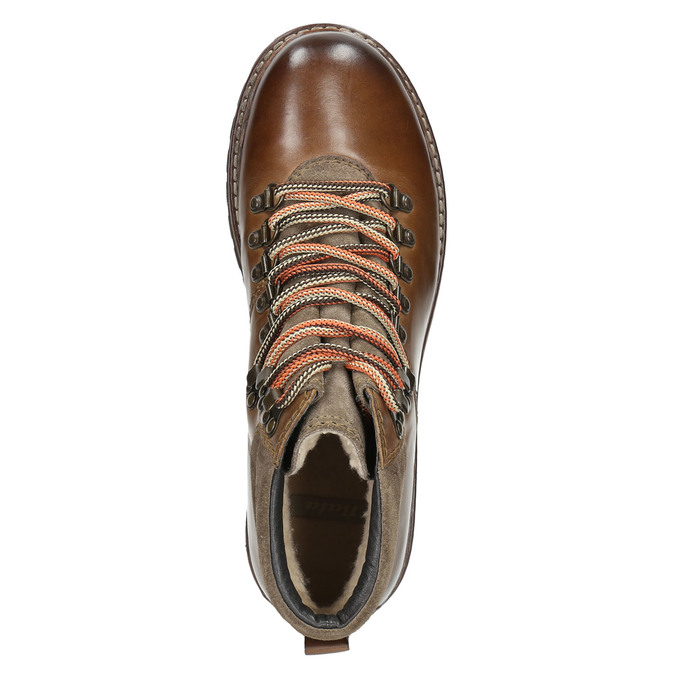 Leather Ankle Boots with Colorful Shoelaces, brown , 894-4180 - 26