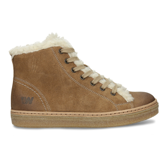 Leather ankle-cut sneakers with fur, brown , 596-8627 - 19