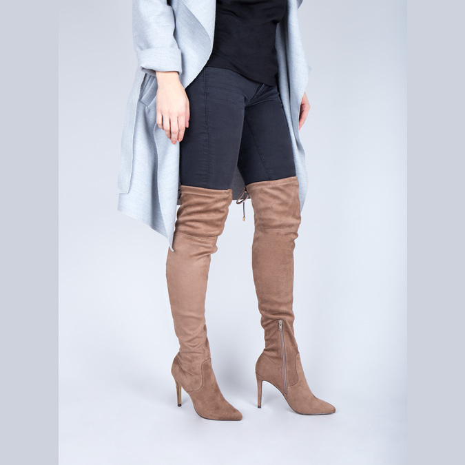 Ladies' over-knee high boots bata, brown , 799-3600 - 18