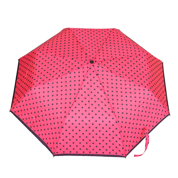 Telescopic umbrella with dots bata, pink , 909-5601 - 26