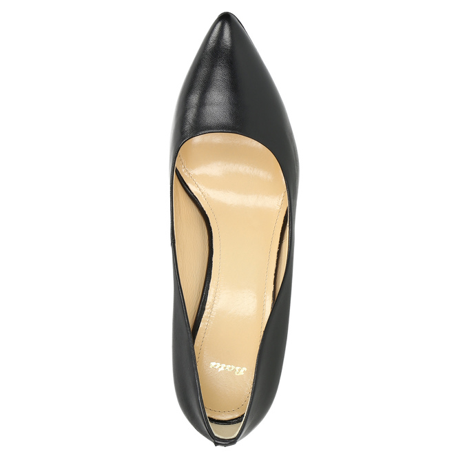 Black leather pumps bata, black , 726-6645 - 19