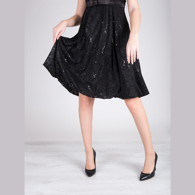 Black leather pumps bata, black , 726-6645 - 14