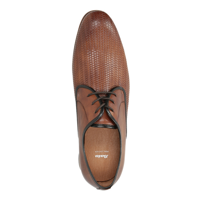 Patterned leather shoes bata, brown , 826-3813 - 19