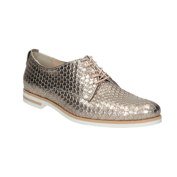 Leather shoes with scale motif bata, gold , 526-8627 - 13