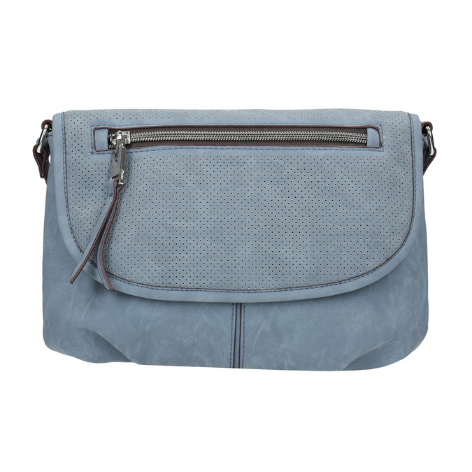 Crossbody handbag with perforated flap bata, blue , 961-9709 - 26