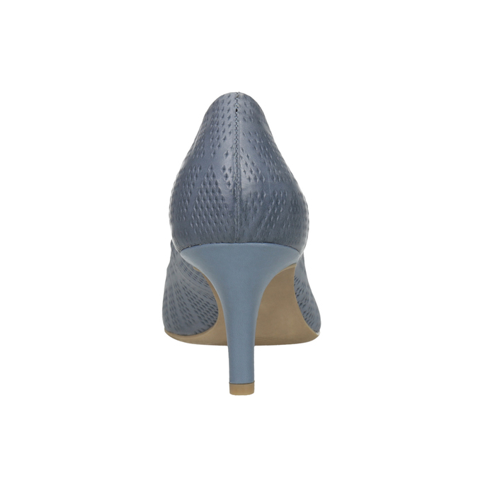 Leather court shoes with perforations pillow-padding, blue , 626-9636 - 17