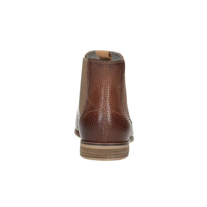 Leather Chelsea ankle boots with perforations bata, brown , 596-4644 - 17