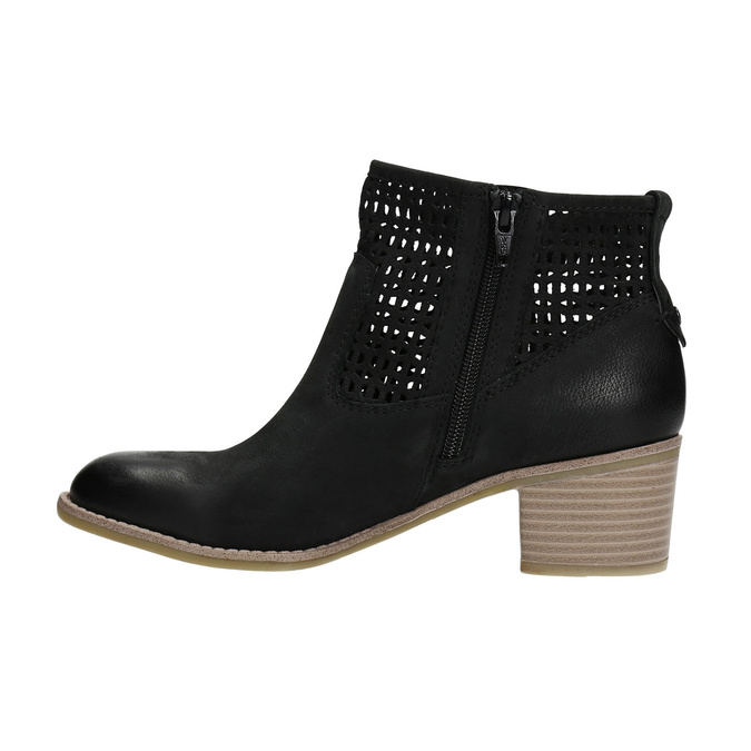 Ladies´ spring leather Cossacks bata, black , 696-6643 - 26