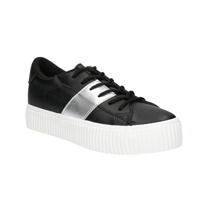 Black sneakers with silver stripe north-star, black , 521-6605 - 13
