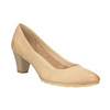 Leather pumps with a low heel bata, beige , 626-8639 - 13