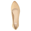 Leather pumps with a low heel bata, beige , 626-8639 - 15