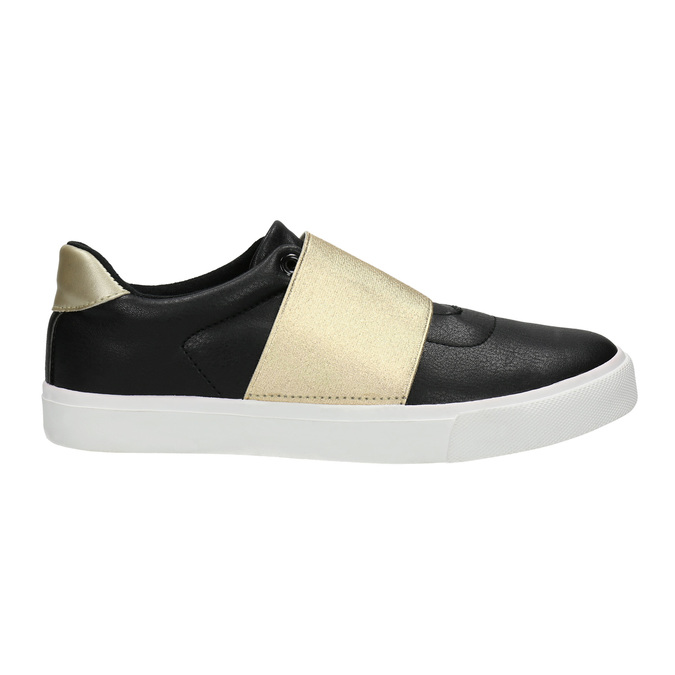 Black sneakers with gold stripe north-star, black , 511-6602 - 15