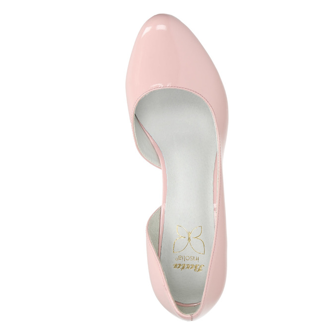 Pink leather pumps with cut-outs insolia, pink , 728-5637 - 19