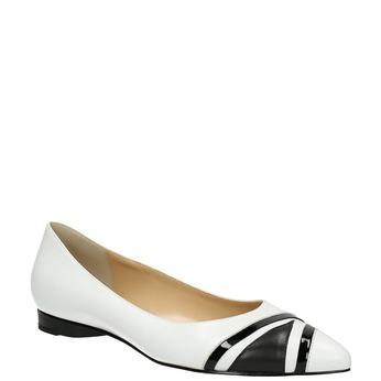 Ladies´ leather ballerinas bata, white , 524-1602 - 13