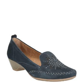 Ladies' leather H-width moccasins bata, blue , 523-9603 - 13