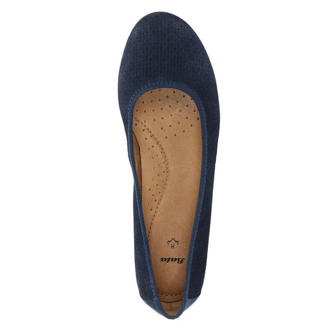 Leather pumps width H bata, blue , 623-9601 - 19