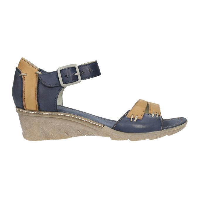 Leather wedge-heel sandals bata, blue , 626-9642 - 15