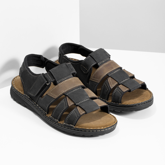 Men's leather sandals, brown , 866-4610 - 26