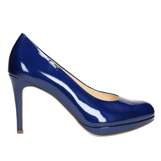 Patent leather pumps hogl, blue , 728-9400 - 15