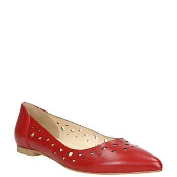 Red leather ballet pumps bata, red , 524-5604 - 13