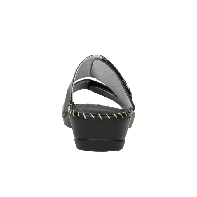 Leather slippers, black , 674-6600 - 17