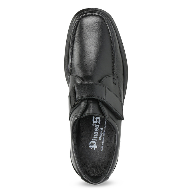 Men's leather shoes with Velcro, black , 824-6543 - 17