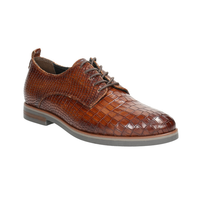 Ladies' leather textured oxford shoes bata, brown , 526-4637 - 13