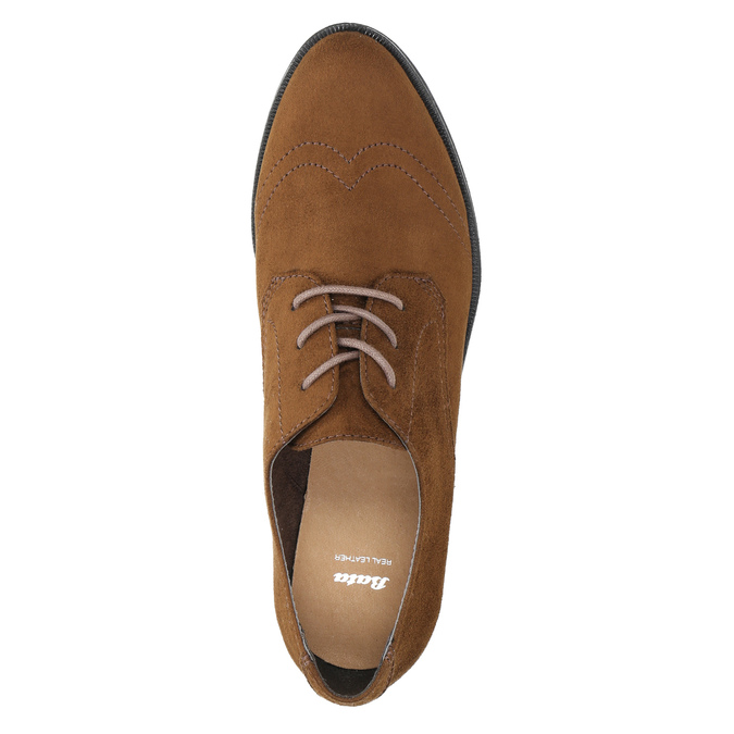 Ladies' brown shoes with stitching bata, brown , 529-4632 - 19