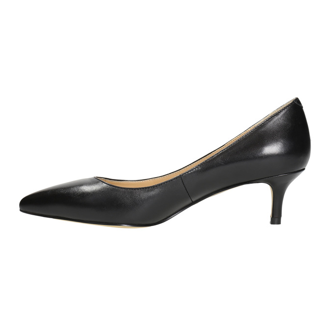 Ladies' leather pumps bata, black , 624-6640 - 26