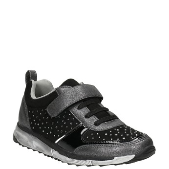 Girl's sneakers with small rhinestones mini-b, black , 329-6295 - 13