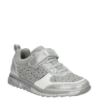 Girl's silver sneakers with small rhinestones mini-b, gray , 329-2295 - 13