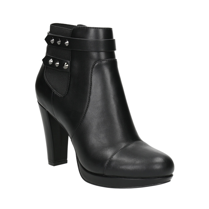 Ankle boots with metal studs bata, black , 791-6665 - 13