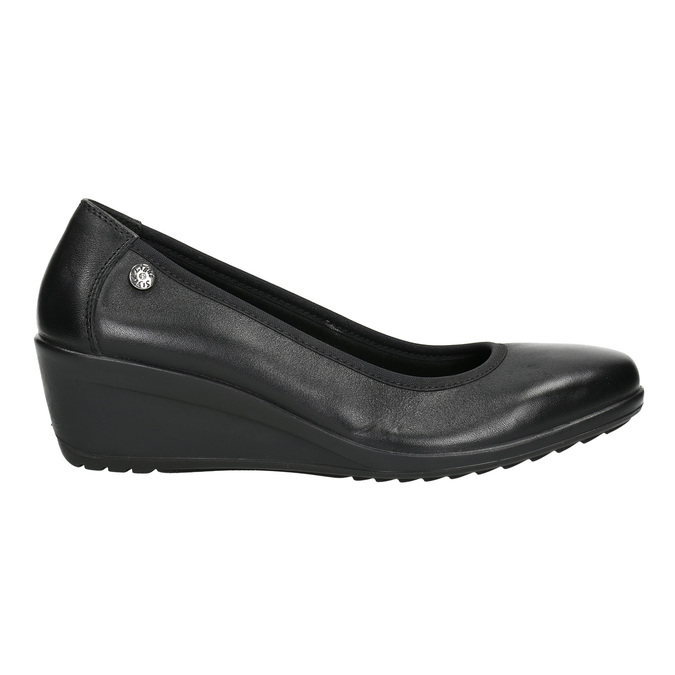 Leather pumps on a wedge heel, black , 626-4643 - 15