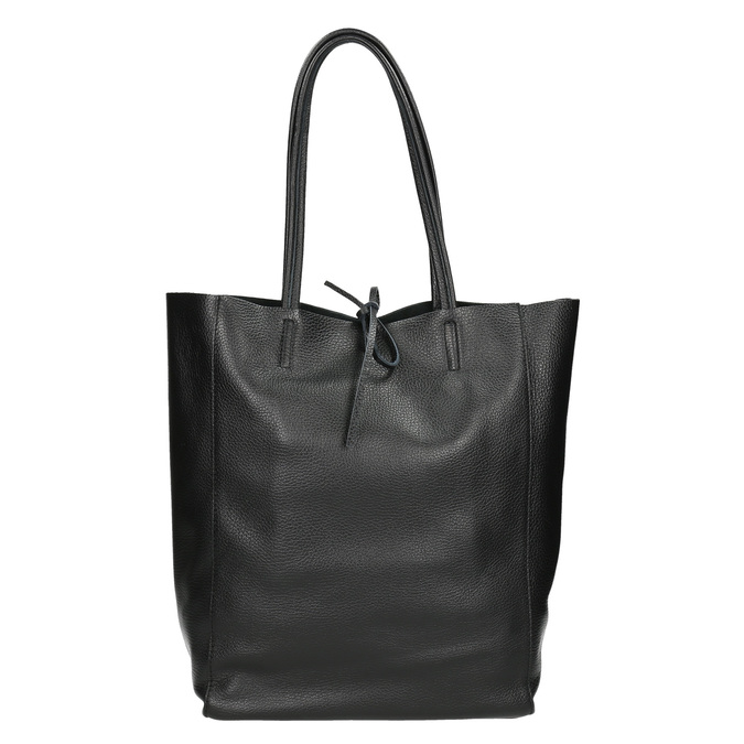 Leather handbag v Shopper style bata, black , 964-6122 - 26