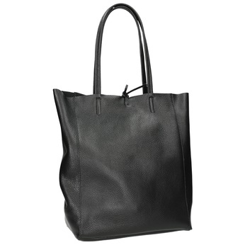 Leather handbag v Shopper style bata, black , 964-6122 - 13