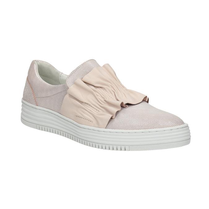 Ladies' leather slip-ons bata, pink , 516-5614 - 13
