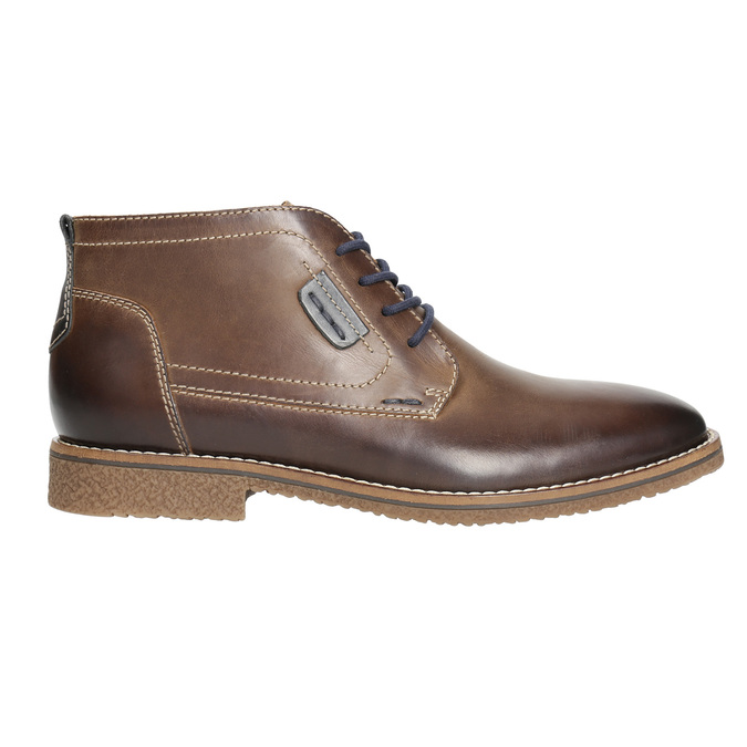 Men's leather ankle boots bata, brown , 826-4614 - 15