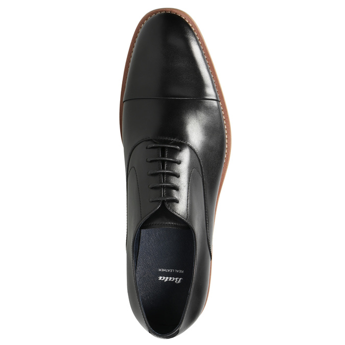 All-leather Oxford shoes bata, black , 824-6414 - 26