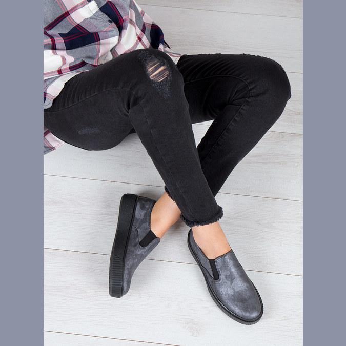 Ladies' Slip-on on black flatforms bata, gray , 516-1613 - 18