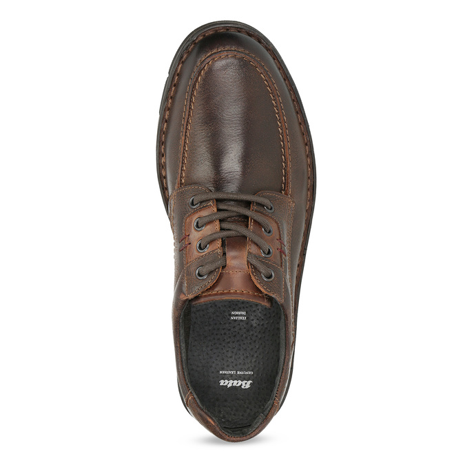 Men's leather shoes with distinctive sole bata, brown , 826-4917 - 17