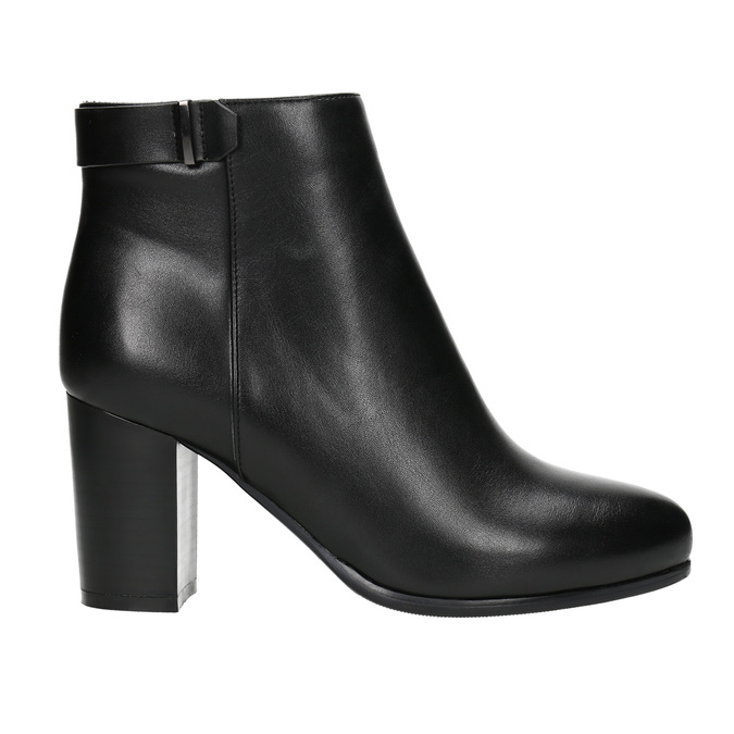 Ankle boots with heels bata, black , 691-6634 - 15