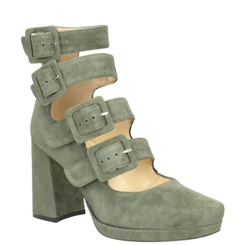 Leather Pumps with Buckles bata, green, 723-7984 - 13